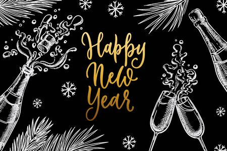 Happy New Year celebration banner, poster design. Bottle of champagne, two glasses and calligraphy lettering. Chalk sketch vector illustration. Vintage invitation, greeting card with black background