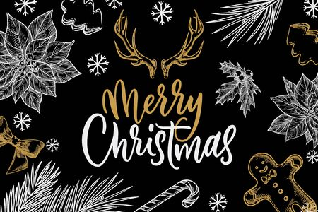 Merry Christmas calligraphy lettering. Vintage banner, poster, invitation or greeting card design. Chalk sketch vector illustration. Winter holiday white and gold decor on black background. Ilustracja