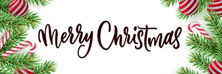 Merry Christmas calligraphy lettering horizontal banner white background. Vector 3d realistic illustration of green pine branches, red balls, striped candy. Typographic winter holiday poster frame Ilustracja