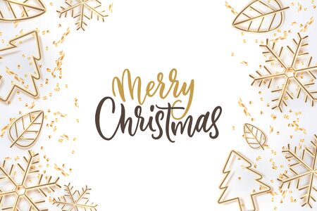 Merry Christmas calligraphy lettering and golden holiday toys decoration. Vector 3d illustration of gold Christmas tree, snowflakes, leaves. Luxury modern banner, poster, invitation white background