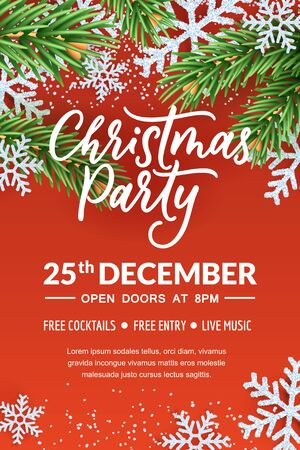 Christmas party hand drawn calligraphy lettering, poster or banner template. Holiday flyer layout with place for text. Vector 3d realistic illustration of white snowflakes and green fir branches.