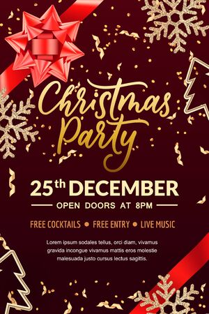 Christmas party hand drawn calligraphy lettering, poster or banner template. Holiday flyer layout with place for text. Vector 3d realistic illustration of red bow ribbon and golden snowflakes.