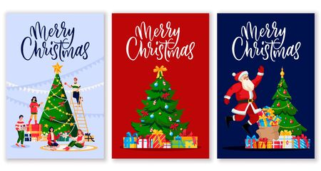 Merry Christmas calligraphy lettering greeting gift cards or postcards. Vector flat cartoon illustration of Santa Claus and people celebrating holidays. Seasonal poster or banner design template set Ilustracja
