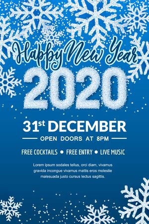 Happy New Year 2020 party poster or banner template. Holiday flyer layout with place for text. Vector illustration. White snow numbers on winter abstract blue background with realistic snowflakes.
