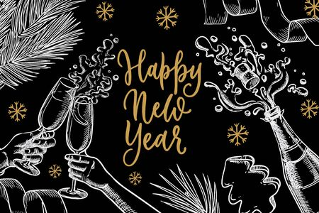 Happy New Year celebration banner, poster design. Couple hands with glasses, champagne, calligraphy lettering. Chalk sketch vector illustration. Vintage invitation, greeting card with black background Ilustracja