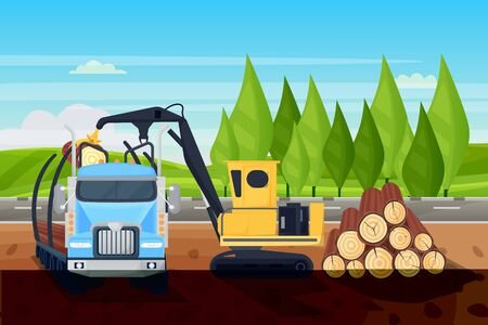 Forestry logging industry. Loading wooden logs in truck, vector flat cartoon illustration. Industrial crane and vehicle equipment for lumber trunks shipping.