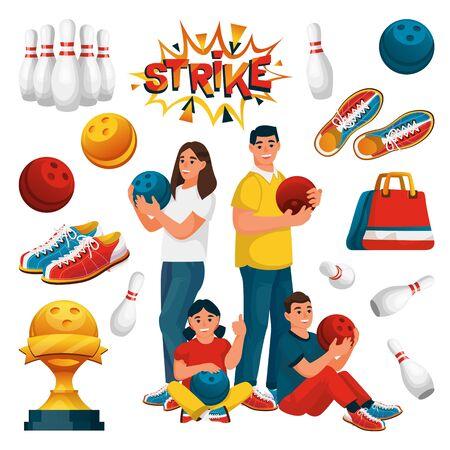 La squadra familiare gioca a bowling. Padre, madre e due bambini con palle da bowling. Piatto del fumetto di vettore. Elementi di design del gioco, isolati su sfondo bianco.