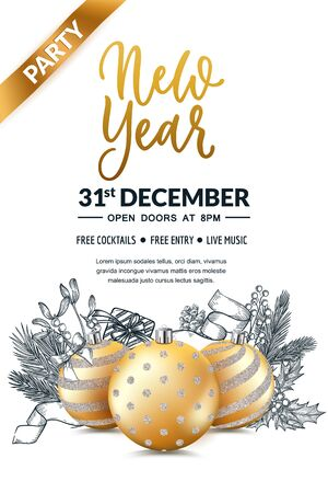 New Year 2020 party poster, banner template. Holiday flyer layout with place for text. Vector illustration. 3d gold realistic bauble balls with glitter pattern and sketch hand drawn Christmas decor. Ilustracja