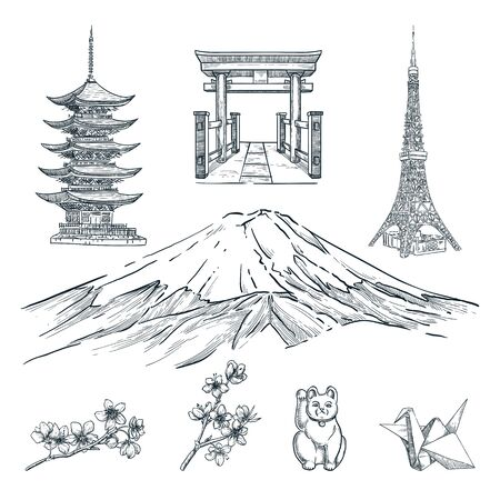 Travel to Japan hand drawn design elements. Vector sketch illustration of pagoda, mountain Fuji, blossom sakura branch, tower and souvenirs. Tokyo famous symbols isolated on white background.