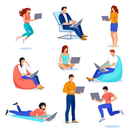 People with laptops in different poses, isolated on white background. Vector flat cartoon illustration. Young men and women work using computer. Business technology design elements set. Ilustracja