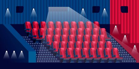 Cinema hall interior. Empty red armchairs rows in dark theater. Vector flat cartoon illustration. Movie, concert or entertainment selling tickets.