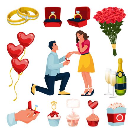 Engagement and marriage design elements set. Man makes proposal to young beautiful woman with diamond ring. Vector flat cartoon illustration. Valentines day party romantic decoration.