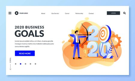 Business goals, strategy and future achievement plan for 2020 new year. Vector flat cartoon illustration of businessman shoots target with bow. Web landing page, banner design template. Ilustracja