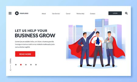Three businessmen in red superhero cloaks against cityscape. Vector business illustration for web landing page, banner, poster design. Concept of achievement, leadership, successful career