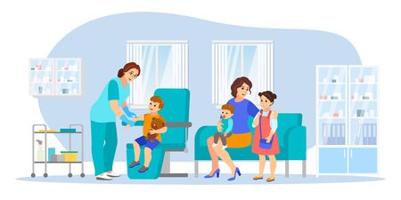Mom with three children makes vaccinations, vector flat cartoon illustration. Female pediatrician doctor gives child vaccine injection. Healthcare, infection prevention, family immunization concept.