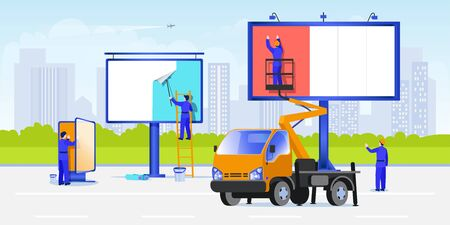 Workers mount posters using stairs and aerial work platforms. Street advertising on a billboard concept. Vector flat cartoon illustration. White blank billboard and lightbox on cityscape background
