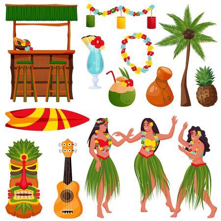 Reisen Sie nach Hawaii-Vektor-Icons und Design-Elementen. Traditionelle hawaiianische Symbole. Schöne hawaiianische Mädchen tanzen Hula-Tanz, Tiki-Bar, Ukulele-Gitarre, Hibiskus, Palme isoliert auf weißem Hintergrund