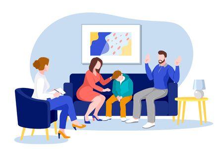 Familia joven con adolescente en la oficina del psicólogo o terapeuta familiar. Ilustración de dibujos animados plano de vector. Psicoterapia, asesoramiento psicológico, concepto de decisión de problema mental.