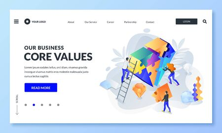 Business core value and company corporate mission concept. Vector 3d isometric illustration. People team assemble diamond shape puzzle. Web landing page, banner design template.