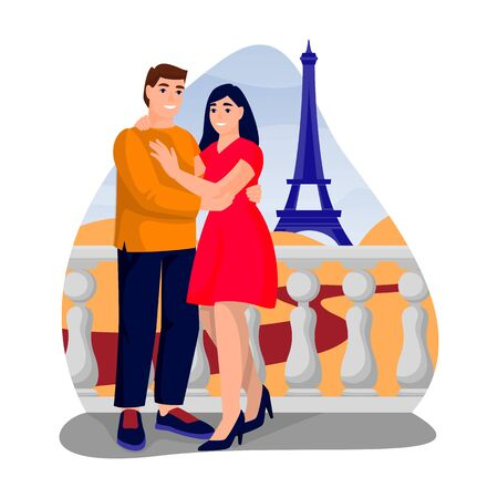 Young happy couple has romantic honeymoon trip to Paris. Vector flat cartoon illustration of engagement or Valentines day date. Woman and man in love, near Eiffel tower.