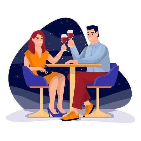 Young happy couple has romantic date in open air restaurant. Vector flat cartoon illustration of engagement or Valentines day. Woman and man drinks red wine 向量圖像
