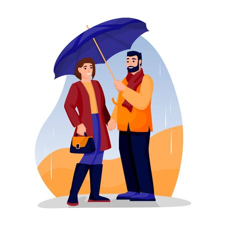 Young happy couple has romantic date in park. Vector flat cartoon illustration of engagement or Valentines day. Woman and man under umbrella