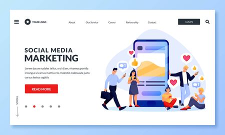 Social media marketing strategy to increase audience followers, customers. Vector illustration. People like and comment on social networks post. SMM digital business concept 向量圖像