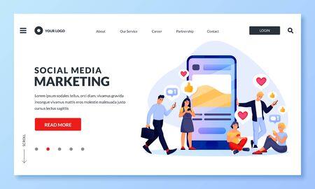 Social-Media-Marketingstrategie zur Steigerung der Follower und Kunden. Vektor-Illustration. Leute mögen und kommentieren Beiträge in sozialen Netzwerken. SMM digitales Geschäftskonzept