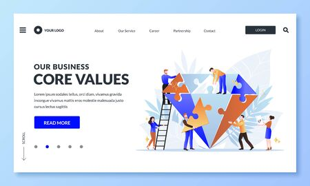 Business core value and company corporate mission concept. Vector flat cartoon illustration for web landing page, banner design template. People team assemble diamond shape puzzle