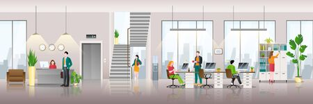 Modern business center interior background. People at work in office. Vector flat illustration of creative workspace.