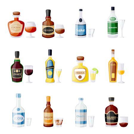 Botellas y vasos de bebidas alcohólicas. Ilustración aislada de dibujos animados plano de vector. Elementos de diseño de menú de barra. Licor, bourbon, vino, tequila, conjunto de iconos de puerto.
