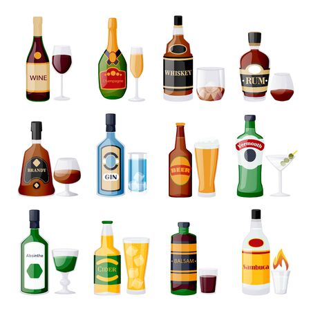 Alcohol drink bottles and glasses. Vector flat cartoon isolated illustration. Bar menu design elements. Whiskey, beer, gin, rum, vermouth icons set.