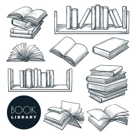 Paper book sketch vector illustration. Isolated hand drawn learning and education icons set. Open and closed books collection on bookshelf. Library or bookstore vintage design elements.