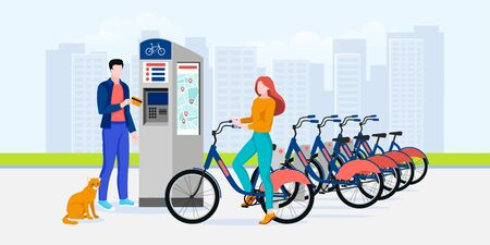Public city bicycle sharing business, vector flat illustration. Man and woman pay for bike rent. Modern automated bike rental service system concept.