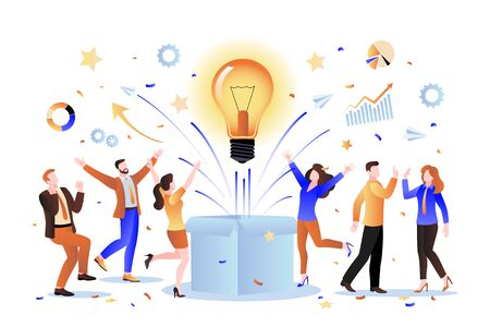 Team idea and business startup concept. Vector flat cartoon illustration. Group of creative people invents innovative successful solution. 向量圖像