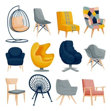 Modern armchair set, isolated on white background. Apartment Interior furniture design elements. Home and office chair icons. Vector flat cartoon illustration.