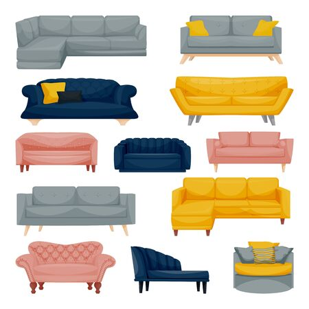 Modern sofa and couch set, isolated on white background. Apartment interior furniture design elements. Home and office divan icons. Vector flat cartoon illustration.