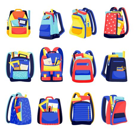 School backpacks colorful icons, isolated on white background. Vector flat cartoon illustration of multicolor kids rucksacks. Education equipment or travel modern design elements. 向量圖像