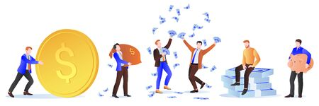 Rich men with money. Businessman with dollars, sack of money, gold coins and piggy bank. Vector illustration. Wealth, investment and success design elements. Making money or winning money concept.