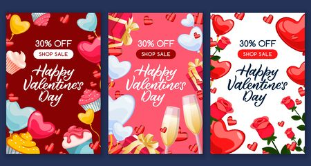 Happy Valentines Day sale banners set. Calligraphy lettering greeting gift cards or postcards. Vector flat cartoon illustration. Poster template with holiday romantic decoration frame.