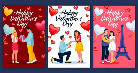 Happy Valentines Day calligraphy lettering greeting gift cards or postcards. Vector illustration of love and romantic couples with heart balloons. Seasonal poster or banner design template set