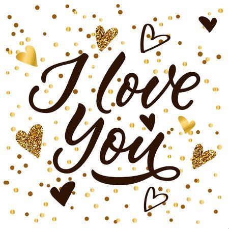 I Love You calligraphy lettering, black and golden heart decoration. Vector illustration. Luxury modern banner, poster, invitation white background