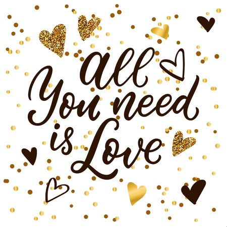 All You Need is Love calligraphy lettering, black and golden heart decoration. Vector illustration. Luxury modern banner, poster, invitation white background 向量圖像