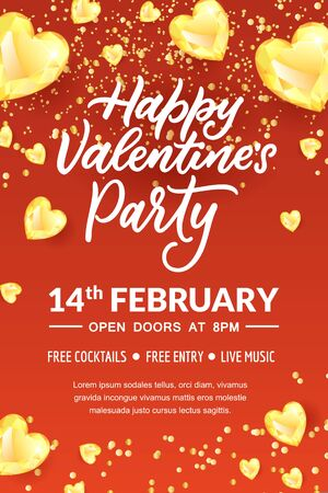 Valentines Day party hand drawn calligraphy lettering, poster or banner template. Holiday flyer layout with place for text. Vector illustration of golden diamond gems in heart shape.