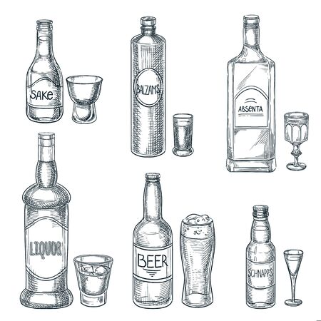 Bouteilles d'alcool et verres. Illustration isolée de croquis dessinés à la main de vecteur. Éléments de conception de menu de barre. Ensemble d'icônes de contour vintage alcool, bière et saké Vecteurs