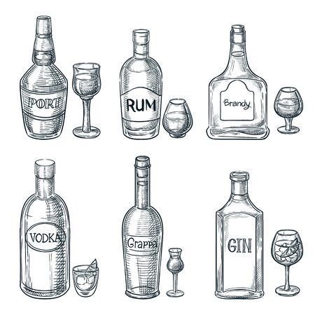 Botellas y vasos de bebidas alcohólicas. Ilustración aislada de boceto dibujado a mano de vector. Elementos de diseño de menú de barra. Conjunto de iconos de contorno vintage de oporto, ron y ginebra