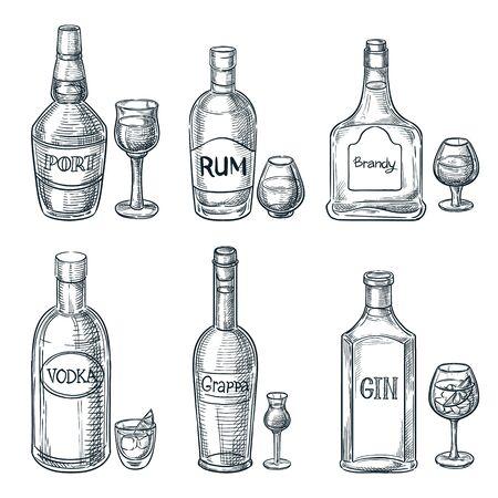 Bottiglie e bicchieri per bevande alcoliche. Illustrazione isolata di schizzo disegnato a mano di vettore. Elementi di design del menu della barra. Set di icone di contorno vintage di porto, rum e gin