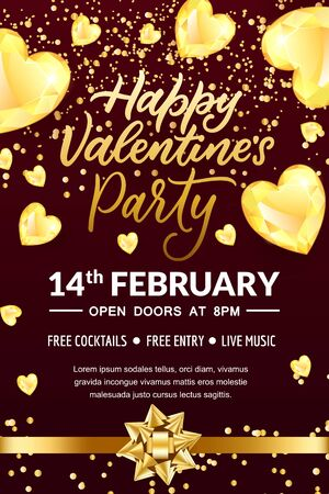 Valentines Day party hand drawn calligraphy lettering, poster or banner template. Flyer layout with place for text. Vector illustration. Black background with golden bow ribbon and heart diamond gems