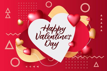 Happy Valentines Day poster, banner with white frame. Vector 3d flying hearts illustration on red and gold background. Romantic holiday abstract trendy design template.