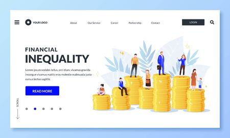 Financial inequality, difference in salary income business concept. Miniature men and women on unequal money stacks, rich and poor people metaphor. Vector illustration for web landing page or banner Illusztráció